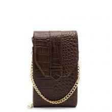 MOSZ Phonebag Schoudertas Croco Dark Brown Gold