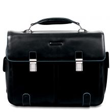 "Piquadro Blue Square Computer Briefcase 15.6"" Black"