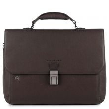 "Piquadro Black Square Laptop 15""/ iPad 9.7"" Expandable Briefcase CONNEQU Dark Brown"