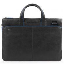 "Piquadro Blue Square S Matte Expandable Slim Computer Bag 15.6"" Black"