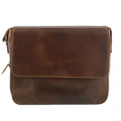 "Plevier Vintage Laptop Messenger 2-vaks 15.6"" Brown 35"