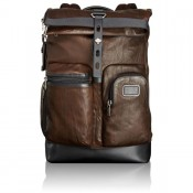 Tumi Alpha Bravo Luke Roll-Top Leather Rugzak Dark Brown