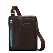 "Piquadro Blue Square Shoulder Pocket Bag 10"" Mahogany"