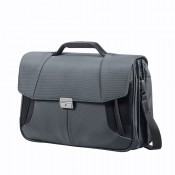 "Samsonite XBR Briefcase 3 Gussets 15.6"" Grey/Black"