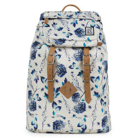 The Pack Society The Premium Rugzak Off White Blue Flower Allover