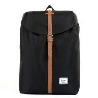 Herschel Post Mid-Volume Rugzak Black/ Tan Synthetic Leather