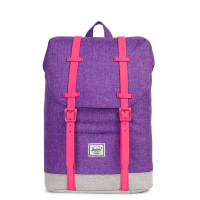 Herschel Retreat Youth Rugzak Deep Lavander Crosshatch/Light Grey Crosshatch/Fandango Pink