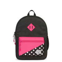 Herschel Heritage Youth Rugzak Black Crosshatch/Polka Dot/Fandango Pink