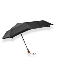 Senz Mini Automatic Deluxe Foldable Paraplu Pure Black Pin Stripes