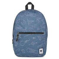 The Pack Society Commuter Rugzak Collaboration Blue With White Embroidery
