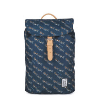 The Pack Society The Small Backpack Dark Blue Wolf Allover