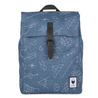 The Pack Society The Square Backpack Rugzak Collaboration Blue With White Embroidery