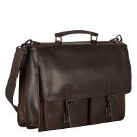 Leonhard Heyden Dakota Briefcase 2 Compartments Brown 2826