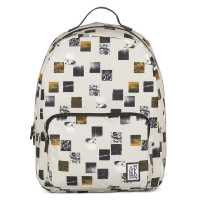 The Pack Society The Classics Rugzak Beige Blocks Allover