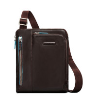 "Piquadro Blue Square Shoulder Pocket Bag 10"" Mahogany"