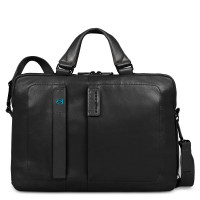 "Piquadro Pulse Expandable Computer Portfolio Briefcase 14"" Black"