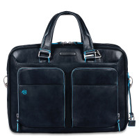 "Piquadro Blue Square Portfolio Computer Briefcase 14"" Night Blue"