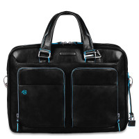 "Piquadro Blue Square Portfolio Computer Briefcase 15"" with iPad Black"