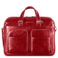 "Piquadro Blue Square Portfolio Computer Briefcase 14"" Red"