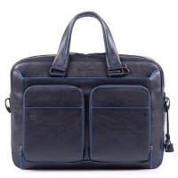 "Piquadro Blue Square Portfolio Computer Briefcase with iPad 10.5""/9.7"" Night Blue"