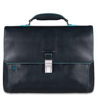 """Piquadro Blue Square Expandable Computer Portfolio Briefcase 15"""" Night Blue"""