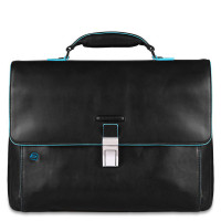 "Piquadro Blue Square Expandable Computer Portfolio Briefcase 15"" Black"