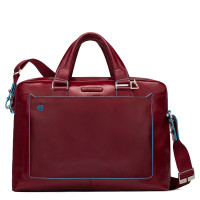 "Piquadro Blue Square Double Handle Computer Portfolio Briefcase 14"" Red"