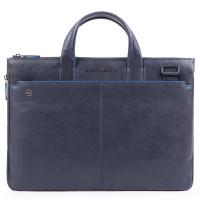 "Piquadro Blue Square S Matte Expandable Slim Computer Bag 15.6"" Blue"
