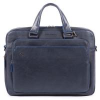Piquadro Blue Square Portfolio Computer Briefcase Night Blue