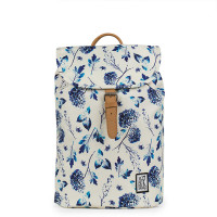 The Pack Society The Small Backpack Off White Blue Flower Allover