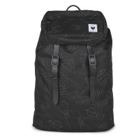 The Pack Society The Premium Rugzak Collaboration Black With Grey Embroidery