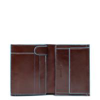 Piquadro Blue Square Vertical Wallet 10 Creditcards Mahogany